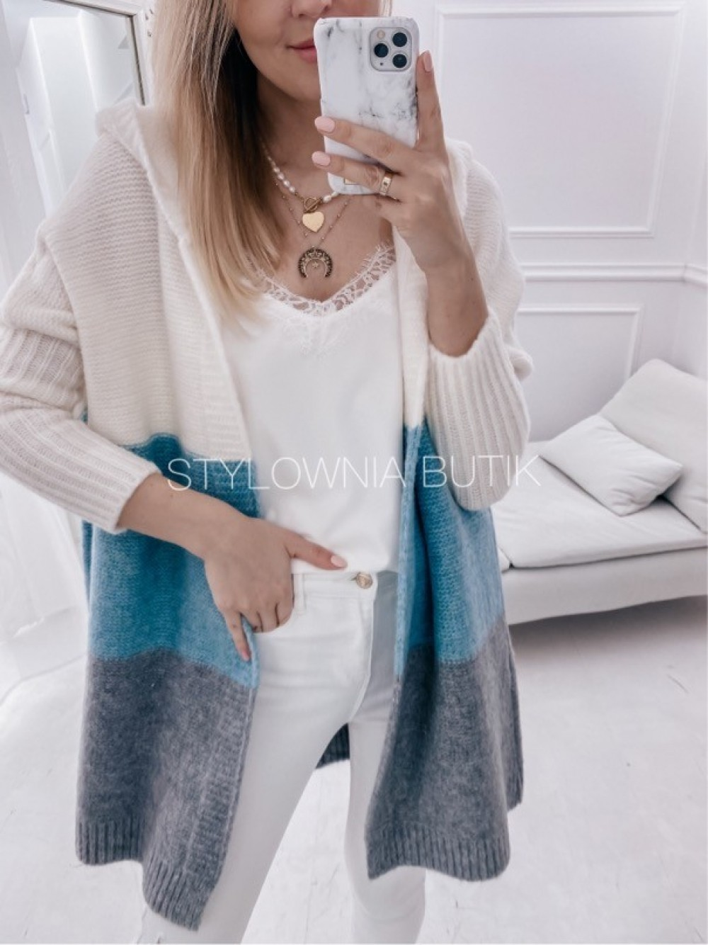 SWETER NARZUTKA POLA TRICOLOR MINT