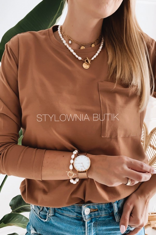 BLUZKA BASIC PREMIUM LONG CAMEL