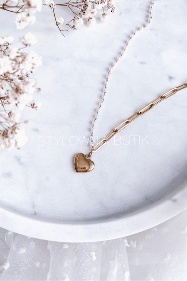 NASZYJNIK GOLD HEART & PEARLS 1901