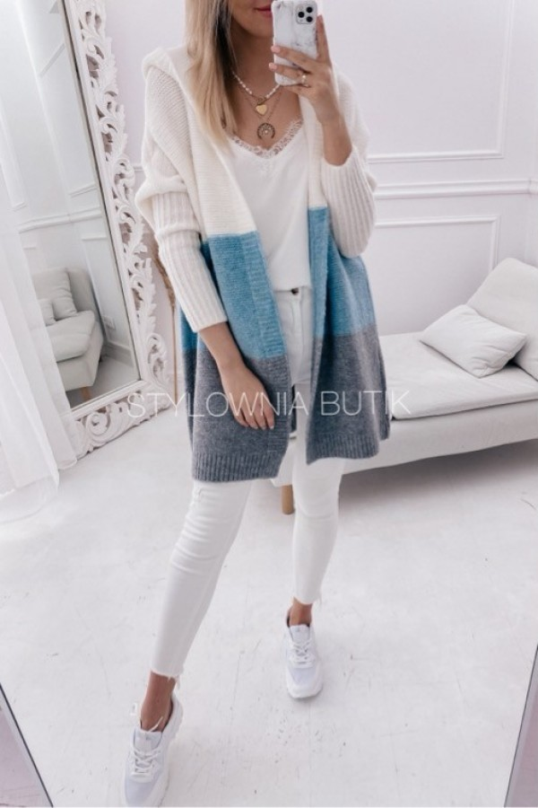 SWETER NARZUTKA POLA TRICOLOR MINT 2