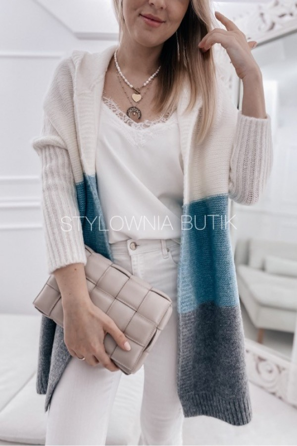 SWETER NARZUTKA POLA TRICOLOR MINT 3
