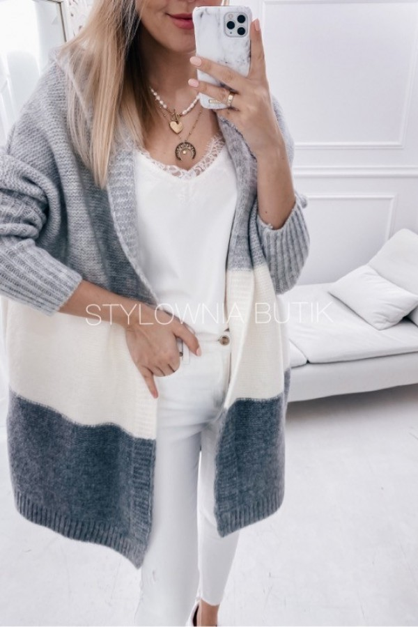 SWETER NARZUTKA POLA TRICOLOR GREY 1
