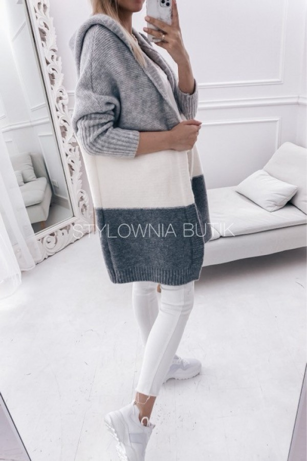 SWETER NARZUTKA POLA TRICOLOR GREY 3