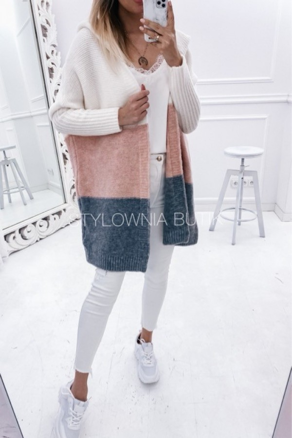 SWETER NARZUTKA POLA TRICOLOR PINK 2