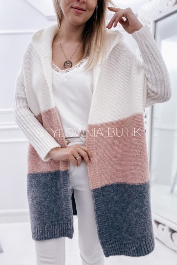 SWETER NARZUTKA POLA TRICOLOR PINK 3
