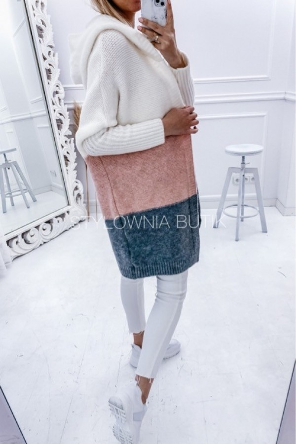 SWETER NARZUTKA POLA TRICOLOR PINK 1
