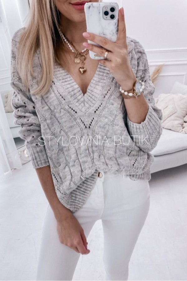 SWETER LUCY V-NECK SZARY