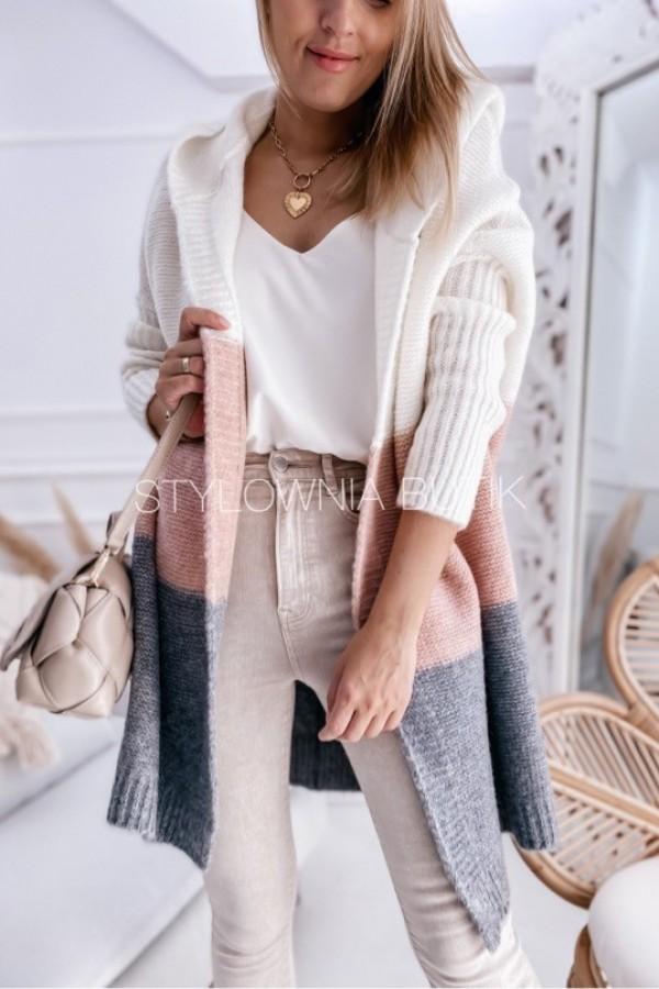 SWETER NARZUTKA POLA TRICOLOR PINK