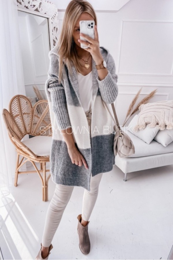 SWETER NARZUTKA POLA TRICOLOR GREY